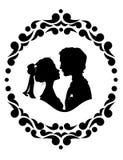Silhouettes des jeunes mariés illustration de vecteur