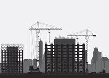 Silhouettes des maisons de bâtiment Grue à tour et maisons de monolithe Illustration plate eps10 illustration stock