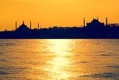 Silhouettes des mosquées Photo stock