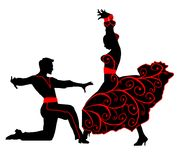 Silhouettes des paires de danse de rumba Photographie stock