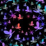Silhouettes des papillons tourbillonnant dans le vortex du sens de couleur illustration stock