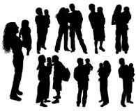 Silhouettes des parents avec la chéri, vecteur Image libre de droits
