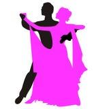 Silhouettes des personnes dansant la valse Photographie stock libre de droits