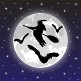 Silhouettes des sorcières et des chauves-souris Images stock