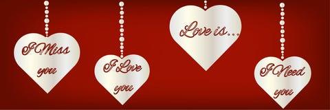 Silhouettes des symboles de coeur avec le texte au sujet de l'amour sur le contexte rouge Beau fond panoramique de fête pour Vale illustration stock