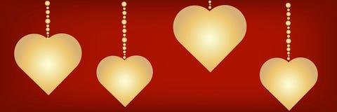 Silhouettes des symboles de coeur avec un endroit sous le texte sur un contexte rouge Beau fond panoramique de fête pour Valentin illustration de vecteur