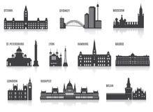 Silhouettes des villes Images stock