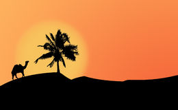 Silhouettes in the dessert. Silhouette of a dromedary and a palmtree against a sunset sky stock illustration