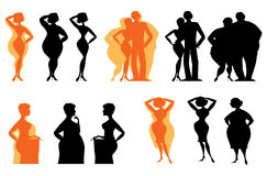 Silhouettes of dieting people. Silhouettes of people changed before after diet vector illustration