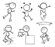 Silhouettes of the different activities. Illustration of the silhouettes of the different activities on a white background Stock Photography