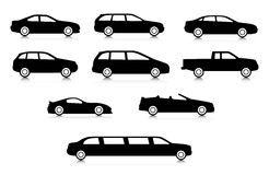 Silhouettes of different body car types Stock Image