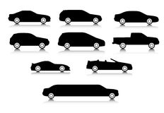 Silhouettes of different body types of a cars. Silhouettes of different types of a body of cars with a shadow Royalty Free Stock Photo