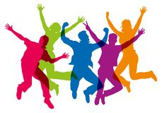 Silhouettes of different colors, showing a group jumping in the air stock illustration