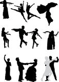 Silhouettes of different dancers Royalty Free Stock Photography