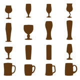 Silhouettes of different glasses Royalty Free Stock Images