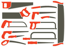 Silhouettes of different hand saws. royalty free stock photos