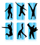 Silhouettes of different people. Silhouettes of party people in a frame Stock Photography