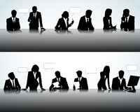 Silhouettes in different poses. Set of business people silhouettes on the office background Royalty Free Stock Photo
