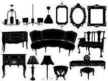Silhouettes of different retro furniture Stock Photos