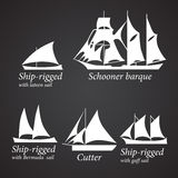 Silhouettes of different Ships in white color. Part 1 Stock Photos