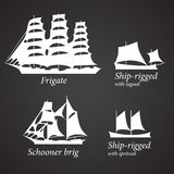 Silhouettes of different Ships in white color. Part 2 Stock Photos