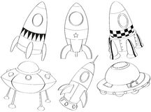 Silhouettes of the different spaceships Royalty Free Stock Photo