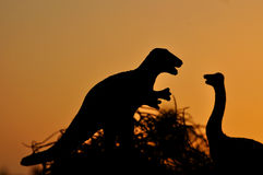 The silhouettes of dinosaurs Royalty Free Stock Photography