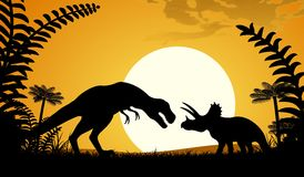 Silhouettes of dinosaurs. Royalty Free Stock Image