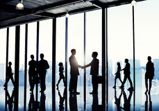 Silhouettes of Diverse Corporate Business People royalty free stock photography