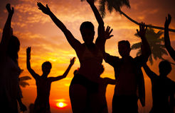Silhouettes of Diverse Multiethnic People Partying.  stock photo