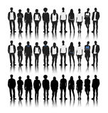 Silhouettes of Diverse People in a Row Concept stock illustration