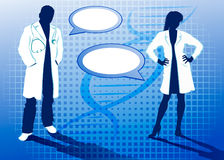 Silhouettes of doctors. On blue abstract background Stock Photo