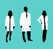 Silhouettes of doctors in white dressing gowns. Vector illustration Stock Image