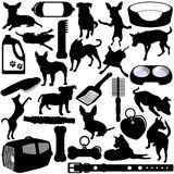 Silhouettes of Dogs, Puppies Royalty Free Stock Images