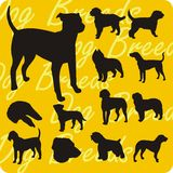 Silhouettes of Dogs - vector set. Royalty Free Stock Photos