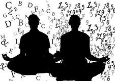 Silhouettes doing yoga: 1 with text around him, 1 with numbers around her. Stock Images