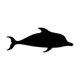 Silhouettes of  dolphin  black and white vector illustra Stock Image