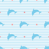 Silhouettes of dolphins on striped background seamless vector pattern stock illustration