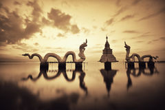 Silhouettes dragon and Naga statue Stock Photos