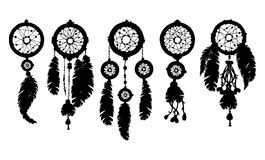 5 silhouettes Dream catchers in black on white background. Hand drawn dreamcatchers with beads and feathers. Decorative boho style elements for design Stock Photo