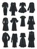 Silhouettes of dresses with lush sleeves and frills. Isolated on white background stock illustration