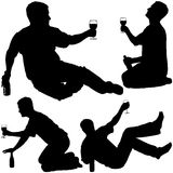 Silhouettes - Drinking Man 4 Stock Photography
