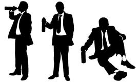 Silhouettes of drunk businessmen with bottle Stock Photography