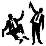 Silhouettes of drunk men Royalty Free Stock Photos