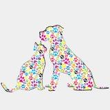 Silhouettes du chat et du chien modelés dans des pattes colorées illustration de vecteur
