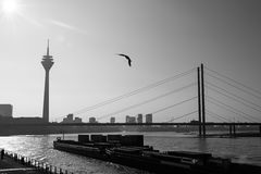 Silhouettes in Dusseldorf Stock Photos