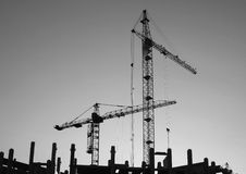 Silhouettes of elevating cranes 1 Royalty Free Stock Photo