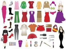 Silhouettes et éléments de mode Photographie stock libre de droits