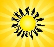 Silhouettes et soleil illustration stock