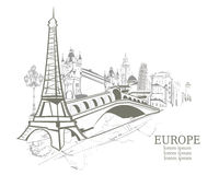 Silhouettes of Europe attractions Stock Images